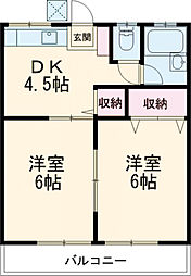 西武国分寺線 恋ヶ窪駅 徒歩13分の賃貸アパート 2階2DKの間取り