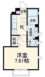 千葉都市モノレール 穴川駅 徒歩2分の賃貸アパート 1階1Kの間取り