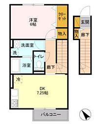 JR内房線 袖ヶ浦駅 徒歩16分の賃貸アパート 2階ワンルームの間取り