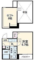 COSMOSII (コスモスツー) 2階1Kの間取り