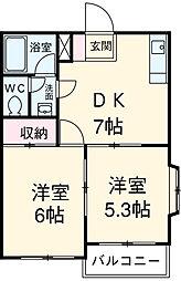 JR中央線 立川駅 徒歩15分の賃貸マンション 2階2DKの間取り