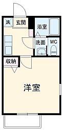 東急田園都市線 二子新地駅 徒歩4分の賃貸マンション 2階1Kの間取り
