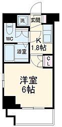 エクセレントプレイス武蔵小杉 6階1Kの間取り