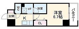 名鉄瀬戸線 森下駅 徒歩4分の賃貸マンション 7階1Kの間取り