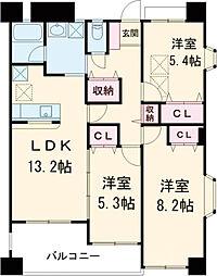 多摩都市モノレール 万願寺駅 徒歩1分の賃貸マンション 4階3LDKの間取り