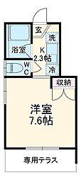 BBA-Loge江田アパート 2階1Kの間取り