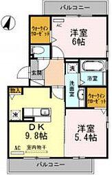JR東海道本線 豊橋駅 バス10分 吉川下車 徒歩6分の賃貸アパート 3階2DKの間取り