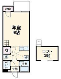 セザンヌ神野新田3 1階ワンルームの間取り