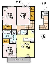 JR東海道本線 豊橋駅 バス16分 大蚊里下車 徒歩2分の賃貸アパート 2階3LDKの間取り