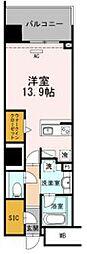 豊橋鉄道東田本線 駅前大通駅 徒歩7分の賃貸マンション 5階ワンルームの間取り