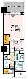 豊橋鉄道東田本線 駅前大通駅 徒歩7分の賃貸マンション 6階ワンルームの間取り