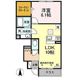 JR飯田線 下地駅 徒歩19分の賃貸アパート 1階1LDKの間取り