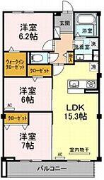 JR東海道本線 豊橋駅 徒歩11分の賃貸マンション 3階3LDKの間取り