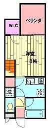 JR東海道本線 西小坂井駅 徒歩23分の賃貸アパート 2階ワンルームの間取り