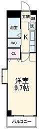 名古屋市営東山線 上社駅 徒歩8分の賃貸マンション 2階1Kの間取り