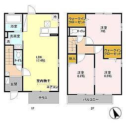 埼玉新都市交通 今羽駅 徒歩5分の賃貸テラスハウス 1階3LDKの間取り