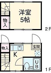 日吉ハイム 1階1Kの間取り