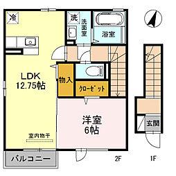 JR高崎線 北本駅 徒歩12分の賃貸アパート 2階1LDKの間取り