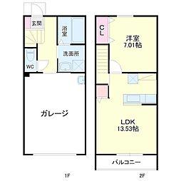 JR東海道本線 天竜川駅 徒歩33分の賃貸テラスハウス 1階1LDKの間取り
