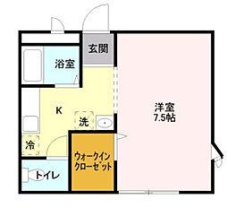 JR高崎線 鴻巣駅 徒歩23分の賃貸アパート 1階1Kの間取り