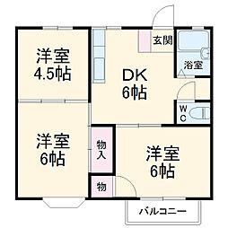 JR高崎線 桶川駅 徒歩31分の賃貸アパート 2階3DKの間取り