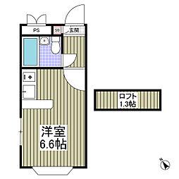 JR高崎線 鴻巣駅 徒歩12分の賃貸アパート 1階ワンルームの間取り