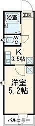京成押上線 京成立石駅 徒歩12分の賃貸アパート 2階1Kの間取り