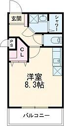 京成本線 京成高砂駅 徒歩4分の賃貸マンション 2階1Kの間取り