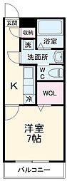 JR高崎線 鴻巣駅 徒歩8分の賃貸アパート 1階1Kの間取り