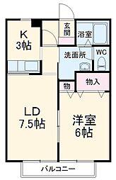 JR総武本線 榎戸駅 徒歩3分の賃貸アパート 1階1LDKの間取り