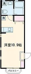 京王線 高幡不動駅 徒歩1分の賃貸アパート 1階ワンルームの間取り