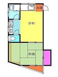東急田園都市線 藤が丘駅 バス7分 みたけ台小第2下車 徒歩2分の賃貸アパート 2階1DKの間取り