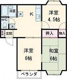 京王相模原線 京王多摩センター駅 徒歩15分の賃貸アパート 2階3DKの間取り