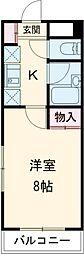 京王相模原線 京王多摩センター駅 徒歩8分の賃貸マンション 5階1Kの間取り