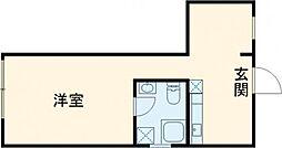 東急田園都市線 用賀駅 徒歩6分の賃貸マンション 2階ワンルームの間取り