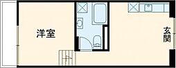 東急田園都市線 用賀駅 徒歩6分の賃貸マンション 3階ワンルームの間取り