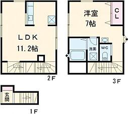 都営大江戸線 豊島園駅 徒歩13分の賃貸アパート 2階1LDKの間取り