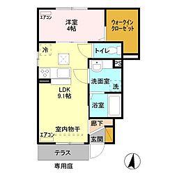 JR高崎線 本庄駅 徒歩27分の賃貸アパート 1階1LDKの間取り