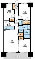 東京メトロ日比谷線 南千住駅 徒歩9分の賃貸マンション 4階3LDKの間取り