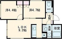 東急田園都市線 桜新町駅 徒歩9分の賃貸マンション 1階2LDKの間取り