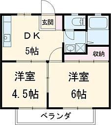 セントバレーA棟 2階2DKの間取り