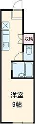 JR中央線 武蔵小金井駅 徒歩8分の賃貸アパート 1階ワンルームの間取り