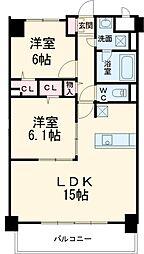 愛知環状鉄道 三河豊田駅 徒歩31分の賃貸マンション 3階2LDKの間取り
