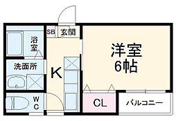 名古屋臨海高速あおなみ線 小本駅 徒歩9分の賃貸アパート 2階1Kの間取り