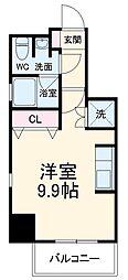 名古屋市営東山線 亀島駅 徒歩2分の賃貸マンション 9階ワンルームの間取り