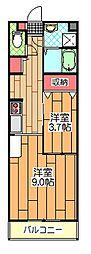 アイディール中台B館 2階1SKの間取り