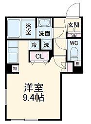 名古屋市営東山線 中村日赤駅 徒歩5分の賃貸マンション 3階ワンルームの間取り