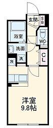 名古屋市営東山線 中村日赤駅 徒歩5分の賃貸マンション 4階ワンルームの間取り
