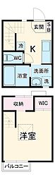 名鉄名古屋本線 東枇杷島駅 徒歩7分の賃貸テラスハウス 1階1Kの間取り