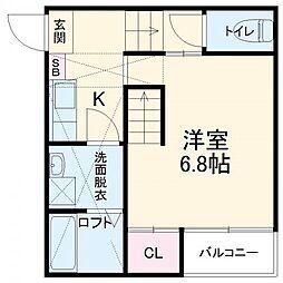 名古屋市営東山線 八田駅 徒歩10分の賃貸アパート 2階1Kの間取り